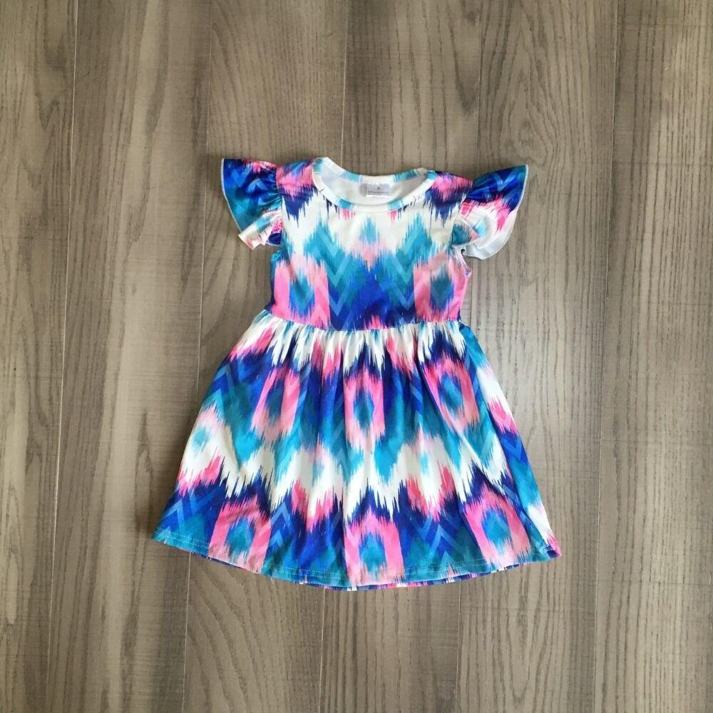 Baby Girls Summer Dress Girls Tie Dye Dress Girls Classic Blue Dress