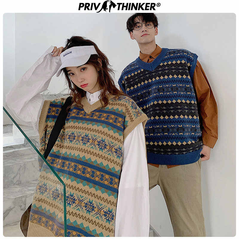 Privathinker 2019 Men Woman Autumn Korean Sweater Vest Pullover Tops Couple Casual Sleeveless Clothes Mens Loose Sweater Vest