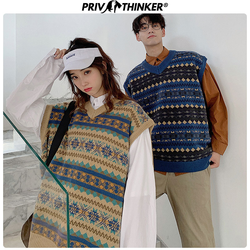 Privathinker 2020 Men Woman Autumn Korean Sweater Vest Pullover Tops Couple Casual Sleeveless Clothes Mens Loose Sweater Vest