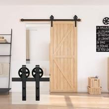 JACHOR 4-16FT Sliding Barn Door Hardware System With Big Spoke Wheels Sliding Track Set Big Hanger Roller for Single Door