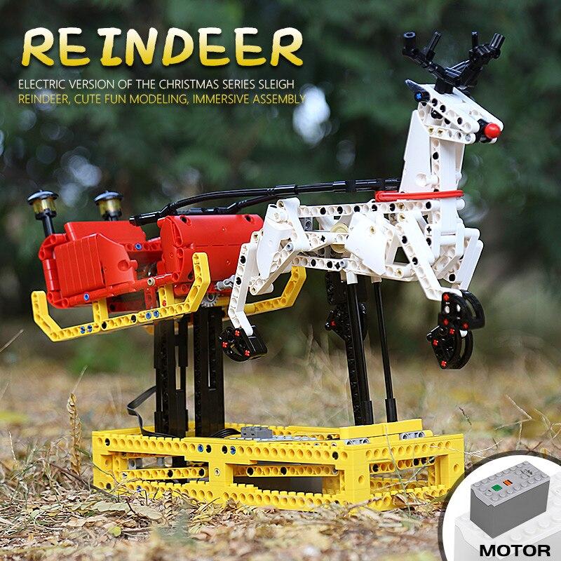 Mould King 10010 The MOC-4121 Christmas Santa Reindeer Sleigh Building Blocks