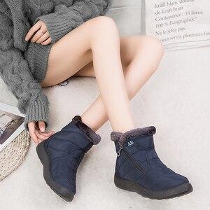 Image 2 - YIKUYUBO 2019 kobiet buty zimowe botki dla damskie buty ciepłe krótkie pluszowe wkładka kobiety zimowe płaskie z zamkiem błyskawicznym śnieg buty