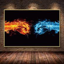 Ледяная и огненная ручная картина кулак для бокса холст настенная