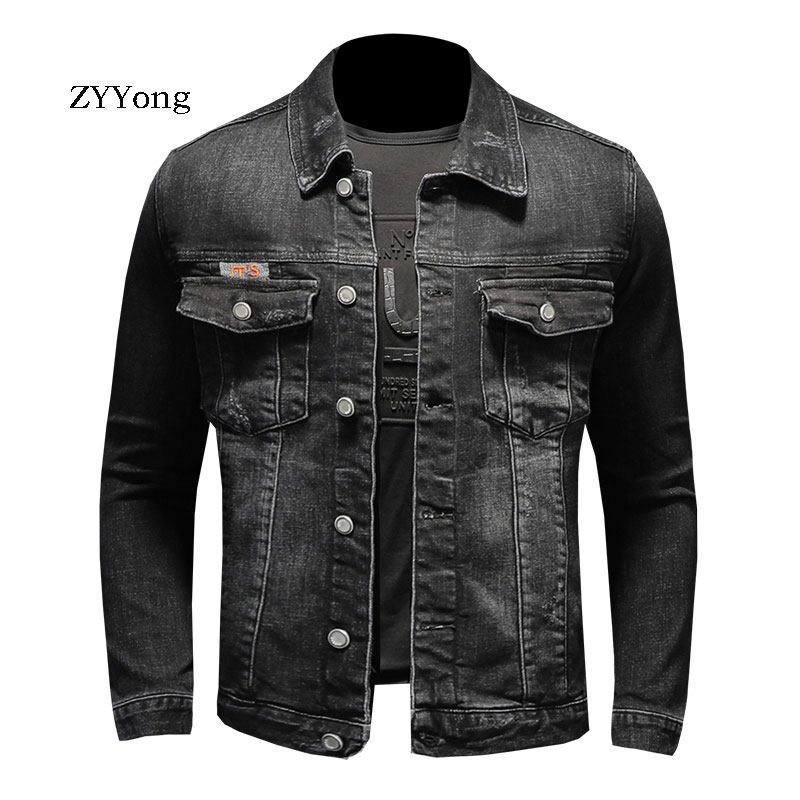 ZYYong Denim Jacket Men's Jacket Black Casual Fashion Denim Jacket Cotton Lapel Long Sleeve Slim Motorcycle Denim Jacket Men