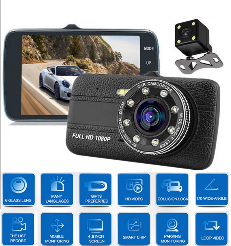 4 Inch IPS DVR Dash Kamera Cam Perekam Video Full HD Registrator Auto Dual Kamera Di Mobil Dashcam Kendaraan hitam DVR Kotak