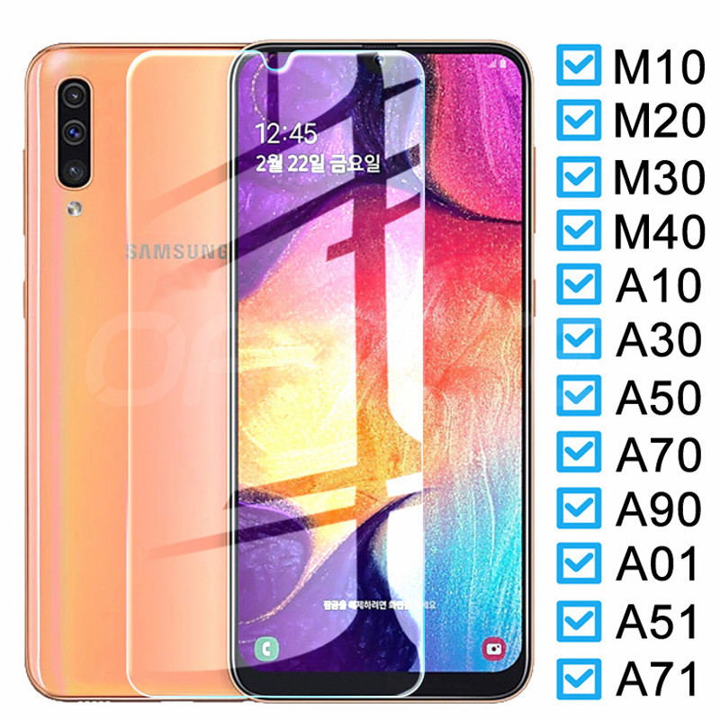 Protective Glass on For Samsung Galaxy A10 A30 A50 A70 A90 M10 M20 M30 M40 A01 A51 A71 Screen Protector Tempered Glass Film Case