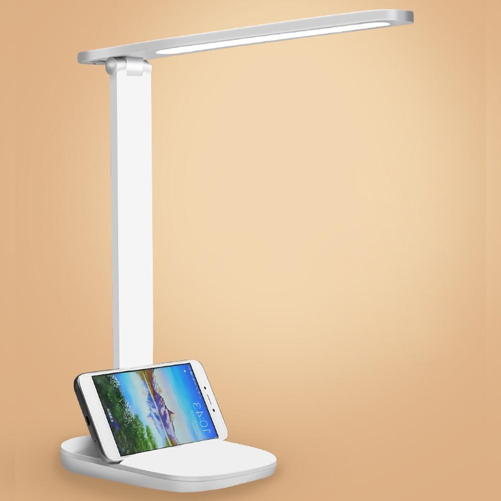 Interruptor táctil para luz plegable para lectura de escritorio, lámpara de mesa con 3 modos de carga USB y batería integrada para estudiantes y oficina