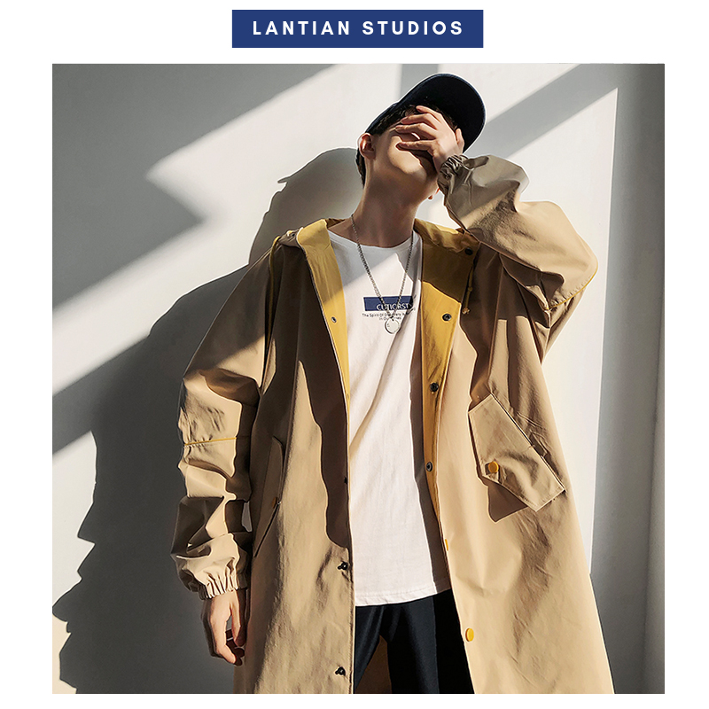 2019 Autumn Men Long   Trench   Back Letter Print Casual Loose Jackets Hip Hop Warm Hooded   Trench   Coats Plus Size Man Clothes