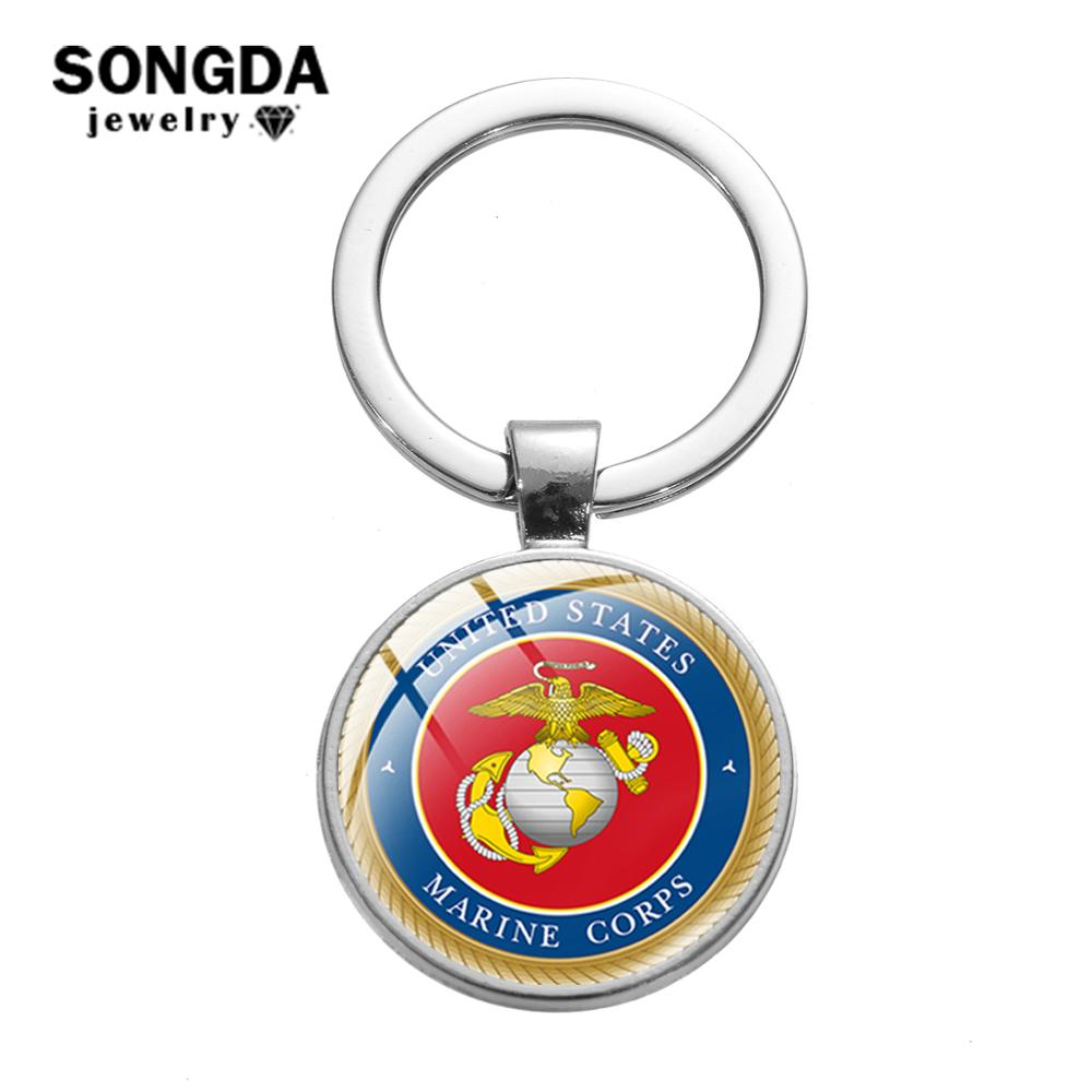 SONGDA <font><b>USMC</b></font> Army Badge Keychain United States Marine Corps Printed Glass Cabochon Charm Key <font><b>Ring</b></font> Holder Motorcycle Car Key Chain image