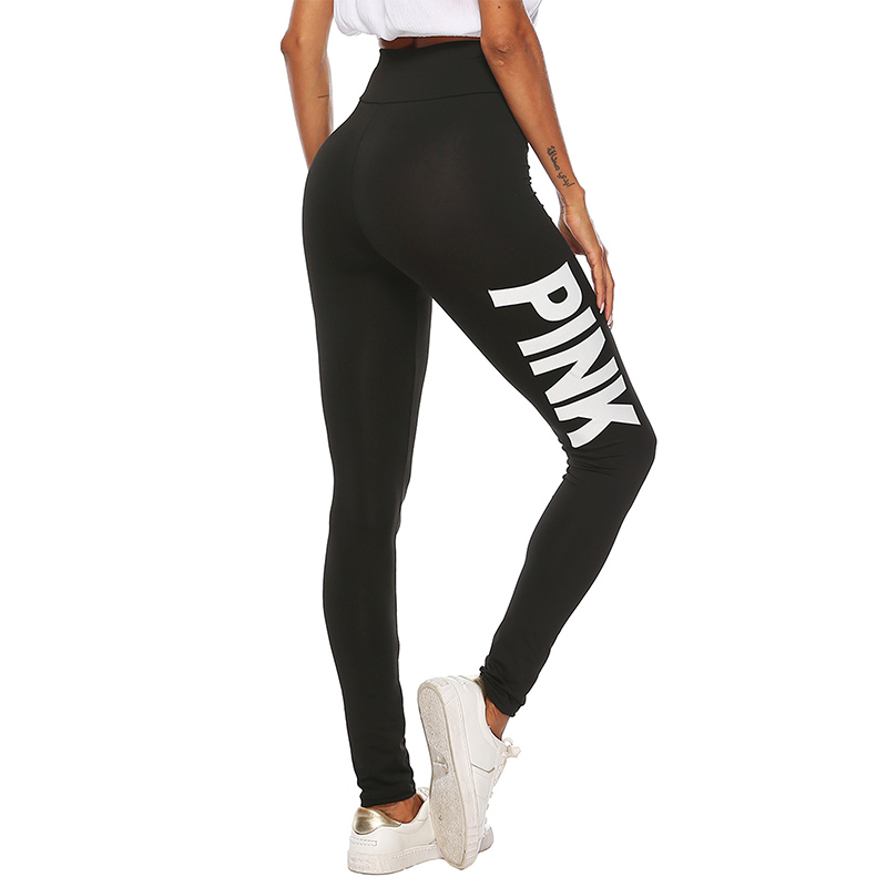 2019 New Women PINK letter printing Leggings Push Up Trousers Sexy Casual Warm High Waist Legging Elastic Pencil Pants Plus size 25