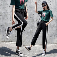 Ice silk cotton and linen slight la wide leg trousers for women nine point trousers 2019 new Korean loose summer thin casual lar