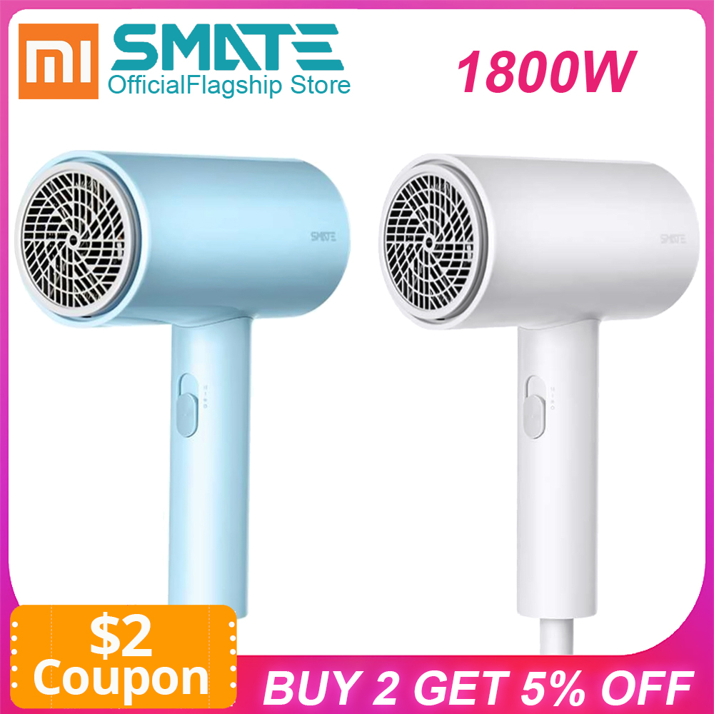 Smate Hair Dryer 1800W For Xiaomi Electric Hair Dryer Brush Blow Drier Quick-drying Hairdryer 3 Gears Negative Ions Dual-layer