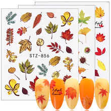 1pcs Fall Leaves Stickers For Nails Red Yellow Maple Left Water Decals Slider Nail Art Wraps Manicure Decor Tattoo SASTZ856-859