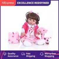 NPK-Muñeca Original de bebé de 48CM, reborn, niño niña, pelo rizado, cuerpo completo, silicona suave, juguete de baño para bebé realista, impermeable