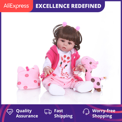 NPK Original 48CM bebe poupée reborn enfant en bas âge fille cheveux bouclés poupée tout le corps doux silicone réaliste bébé bain jouet imperméable à l'eau