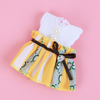 1/8 BJD Dolls Clothes Set 16-18 CM BJD Dolls Lace Flower Dress Sweater 6 Inch BJD Dolls Tops With Skirt For Girls Dolls Clothes - White Yellow QZ