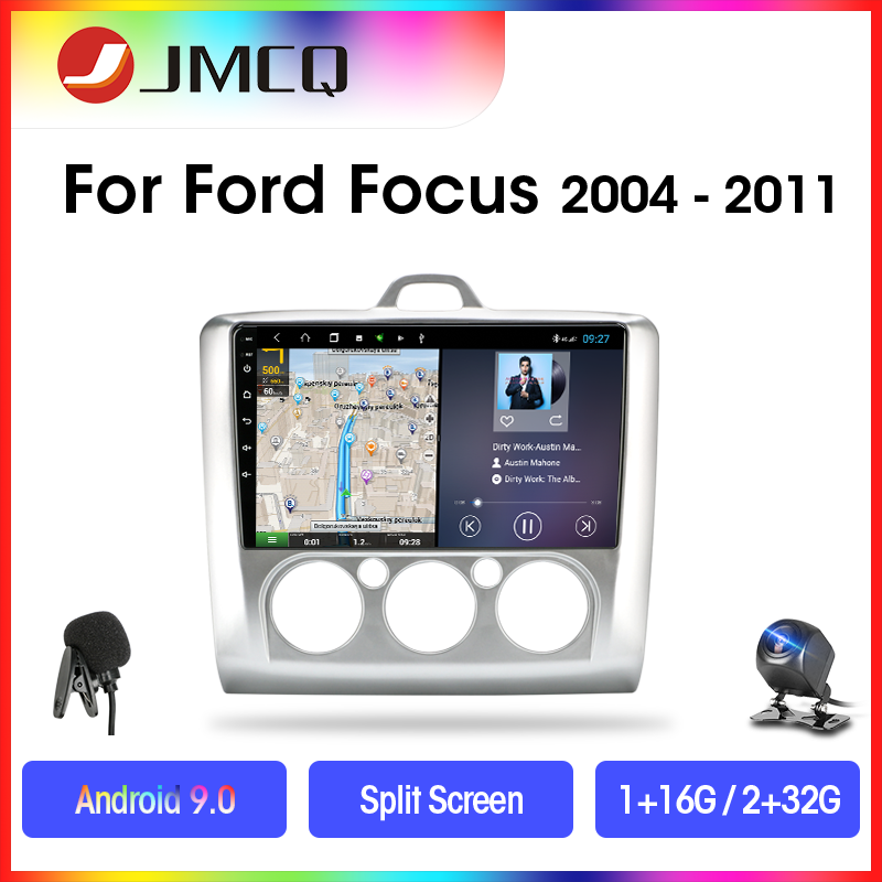 JMCQ Android 9.0 Car Radio For ford focus 2 3 Mk2/Mk3 2004-2011 Multimedia Video Player 2 Din RDS 2G+32G GPS Stereo Split Screen image