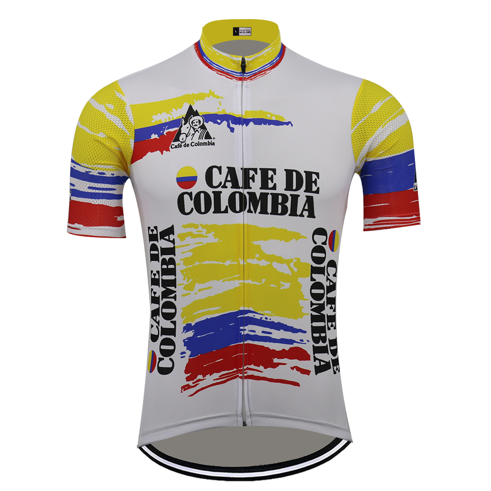 Retro COLOMBIA Cycling Clothing 2019 men's summer cycling jerseys white MTB Quality racing clothes ROAD MOUNTAIN Bike wear image