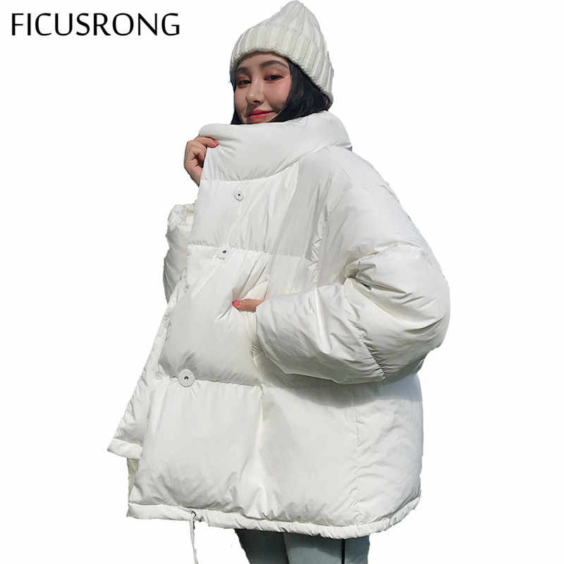 Autumn Winter Jacket Women Stand Collar Solid Black White Female Coat Loose Oversized Womens Short Parka