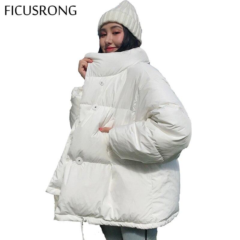 Autumn Winter Jacket Women Stand Collar Solid Black White Female Coat Loose Oversized Womens Short Parka