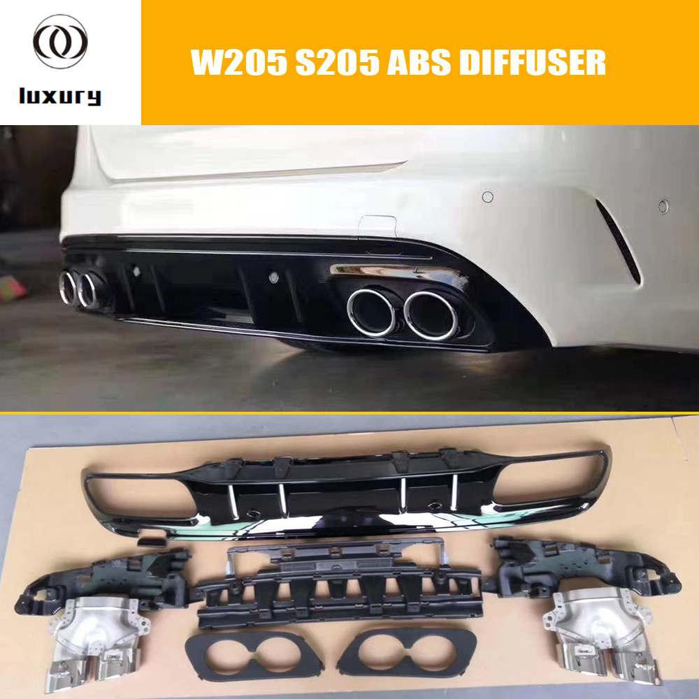 C43 Styling ABS Rear Bumper Diffuser With Round Tips for Benz <font><b>W205</b></font> S205 <font><b>C200</b></font> C300 C400 C450 C43 C63 with <font><b>Amg</b></font> Pacakge 15 - 22 image