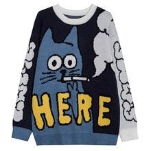Gato padrão lacible camisola de malha homem pulôver streetwear dos desenhos animados camisola de malha jumper streetwear estilo japonês unissex wome