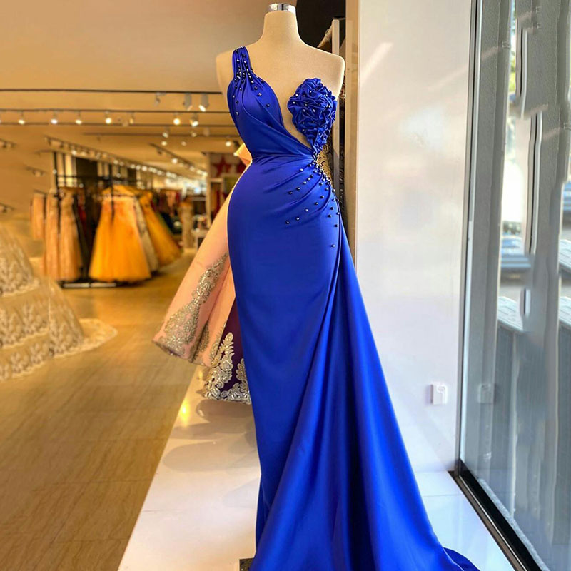 Vinca Sunny Royal Blue African Pleat Satin Prom Dresses One Shoulder Crystal Pearls Evening Gown Women Party robes de mariee