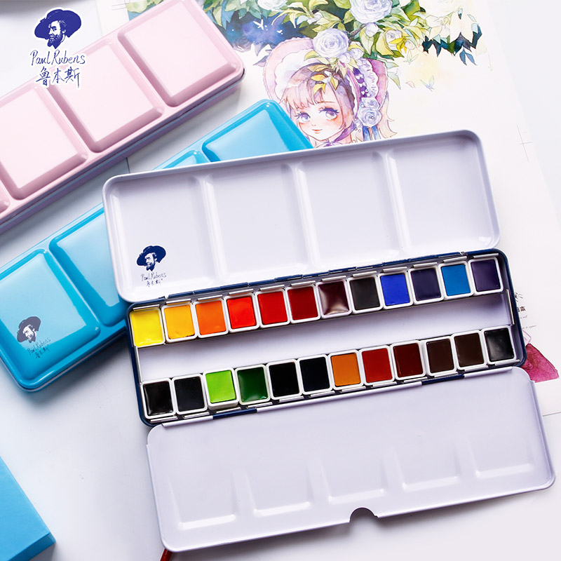 Official Rubens Solid Watercolor Paint Set 12/24/48 Color Fresh Style With Metal Case For Drawing