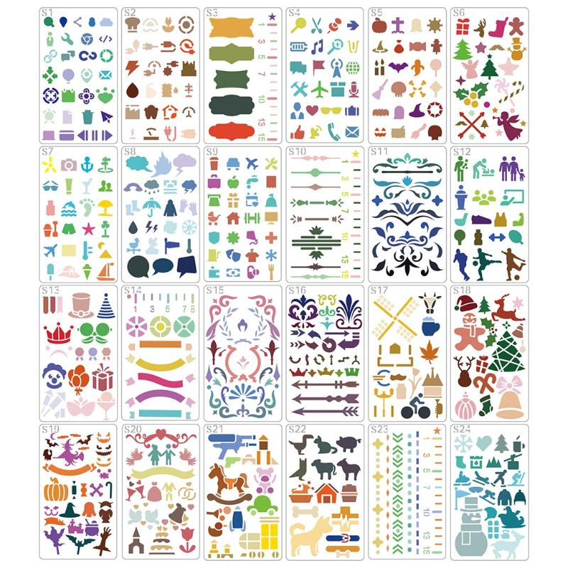 24pcs/set Hollow Drawing Template Stencil Painting Embossing Scrapbooking DIY Diary Decorative