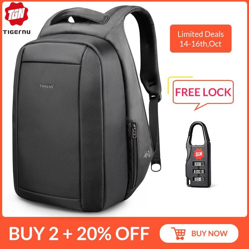 Tigernu étanche Anti-vol mâle Mochila 15.6 pouces sac à dos pour ordinateur portable hommes USB sacs à dos sacs d'école sac à dos pour adolescents sac de voyage