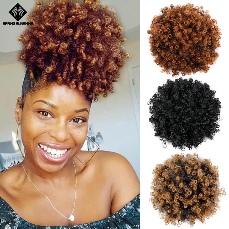 6inch Short Afro Puff Synthetic Hair Bun Kinky Curly Chignon Hairpiece For Women Drawstring Ponytail Updo Hair Extensions