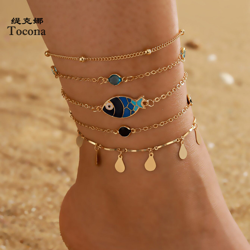 Tocona 5pcs/sets Tassel Anklets for Women Summer Fish Colorful Rhinestone Barefoot Sandals Adjustable Jewelry Wholesae 15044