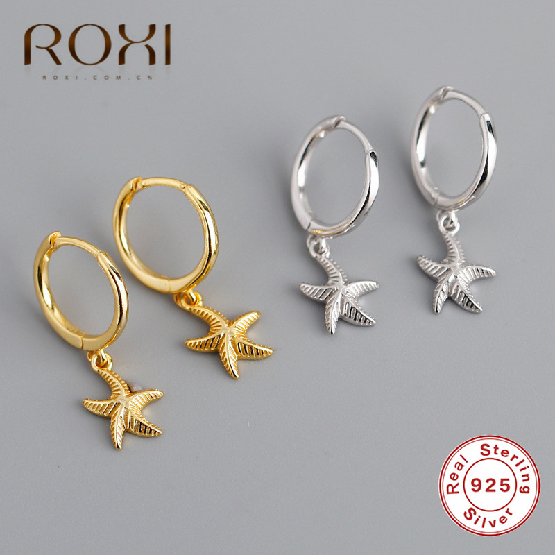 ROXI Fashion Brincos Starfish 925 Sterling Silver Hanging Stud Earrings For Women Beach Piercing Earrings Summer Jewelry Gifts