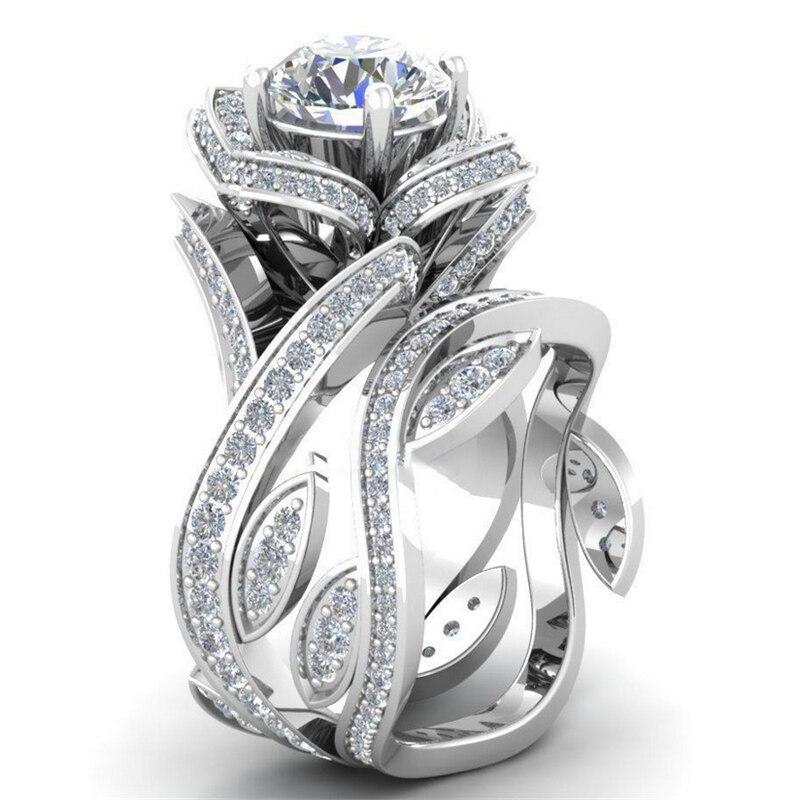 Vintage 925 Sliver Zircon Diamond Ring Creative Flower Buddhist Bizuteria Topaz Gemstone Ring Box for Women Anillos Fine Jewelry