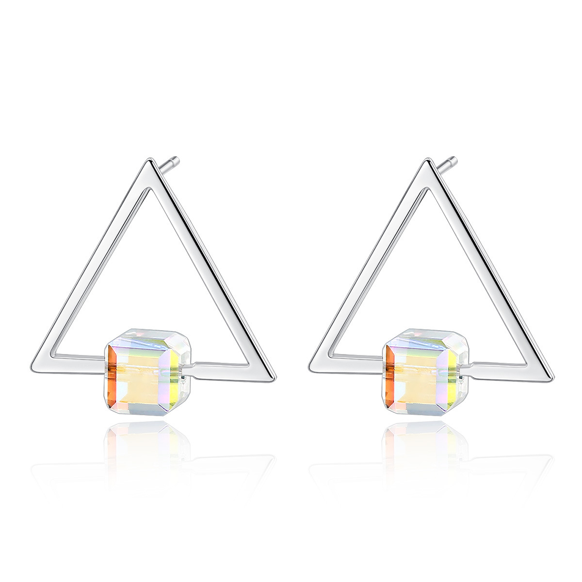 PAG & MAG S925 pure silver ear nail female Korean crystal simple Triangle Earrings unique personality design(China)