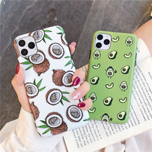 Case For iphone 11 Pro Max XS X XR 6 S 6S 7 8 Plus Back Cover on Cute Cartoon IMD Silicone Phone Avocado Coconut  Coque dynamic liquid avocado phone case for iphone xs max xr x coque back cover for iphone xs max xr x 6 7 8 plus 6s plus fundas