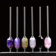 New Eco-friendly Collapsible Amethyst/Rose quartz Clear Crystal drink straw Reusable Stainless Steel Straw With Brush