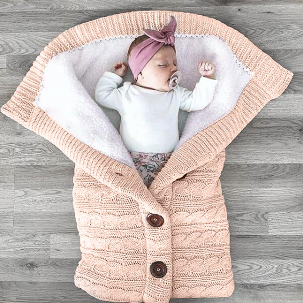 Nouveau bébé sacs de couchage coton tricot hiver enveloppe chaude pour nouveau-né chancelière pour poussette sac de couchage nourrissons sacs de couchage