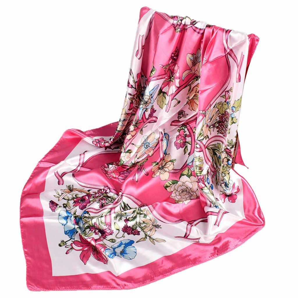Xale macio do vintage envolve mulheres senhoras flores florais impresso lenço de seda longo preto cachecóis envoltório chiffon jassen dames inverno