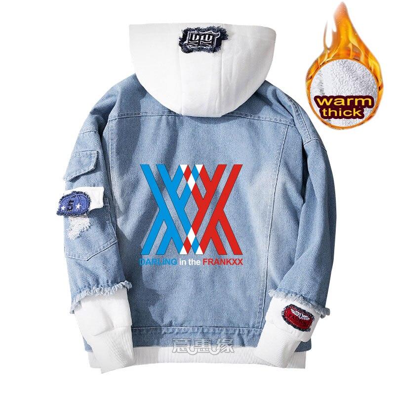 DARLING in the FRANXX hoodie ZERO TWO cosplay coat Denim jacket for men  winter women Jeans Outerwear warm Loose sweatshirts Hoodies & Sweatshirts   - AliExpress