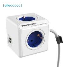 Allocacoc Powercube prise ue adaptateur adaptateur prise européenne multiprise prise ue avec couvercle USB rallonge câble Multi 16a prise murale chargeur usb Extende