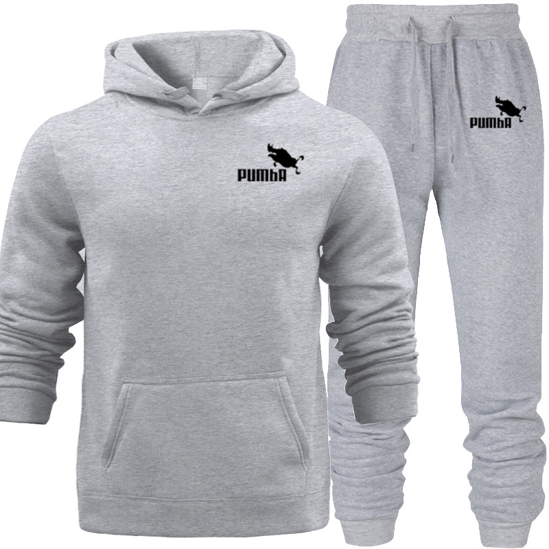 Fashion Logo Printed Hooded Hoodies With Pocket 2 Pieces Set Hoodie+pant Tracksuit Hipster Casual Autumn Sweatshirts Men's Suit