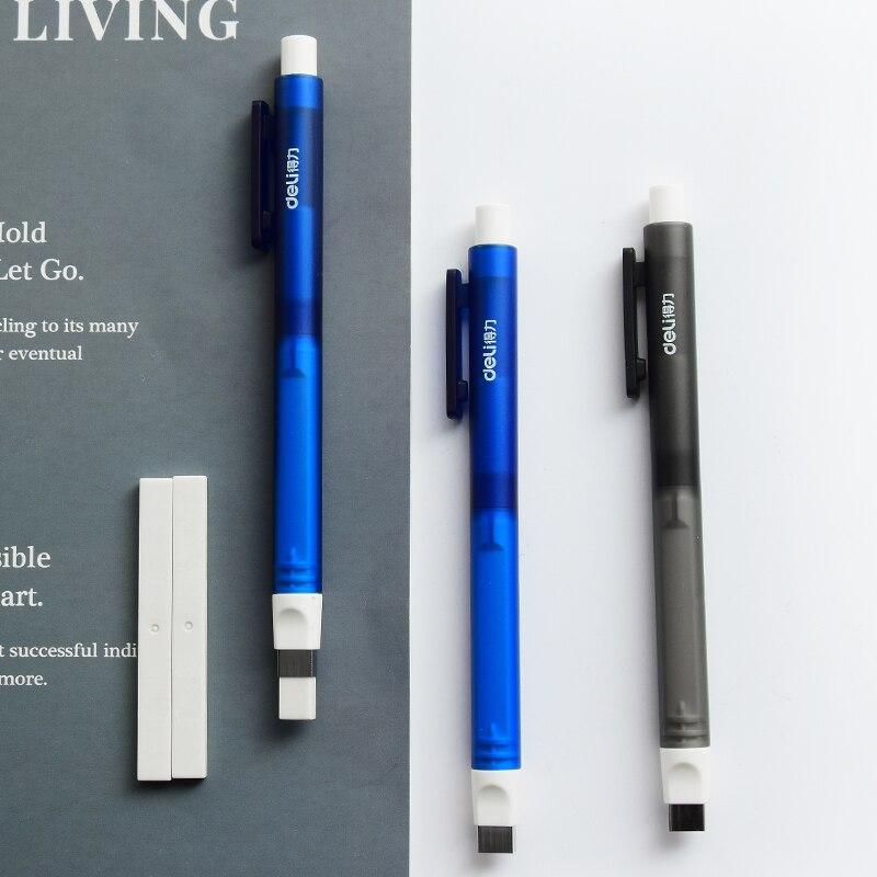 Deli imprensa lápis retrátil borracha escrita material escolar artigos de papelaria