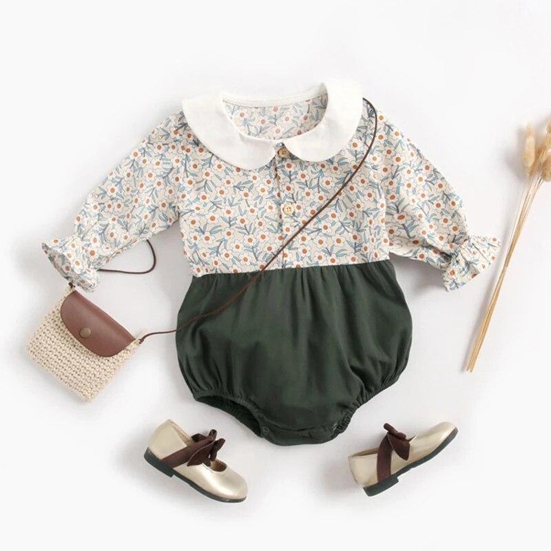 Melario/весенние Комбинезоны для маленьких девочек; Милый комбинезон с цветочным принтом; Хлопковый комбинезон с длинными рукавами; Комплект одежды для новорожденных