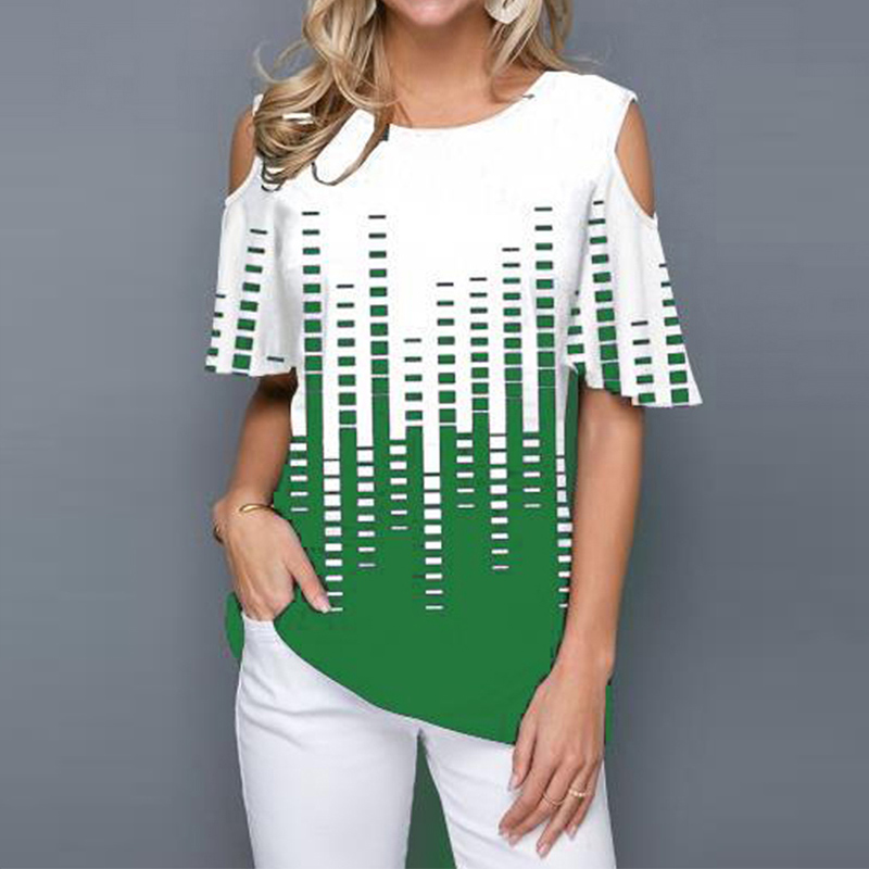 Short Flare Sleeve Print Blouse Women's Tunics Plus Size 5XL O-Neck Hollow Out Female Blouses Tops 2020 Summer Casual Lady Tunic