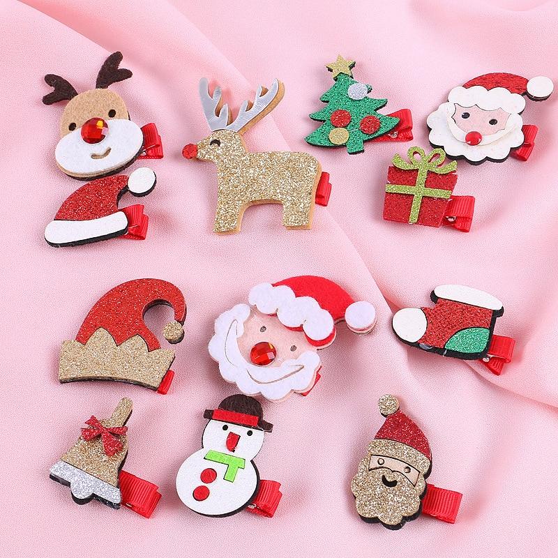 2019 New Christmas Hair Clips Children Christmas Deer Hair Clips Headwear Cute Hairpins Santa Kids Hair Accessories Holiday Gift