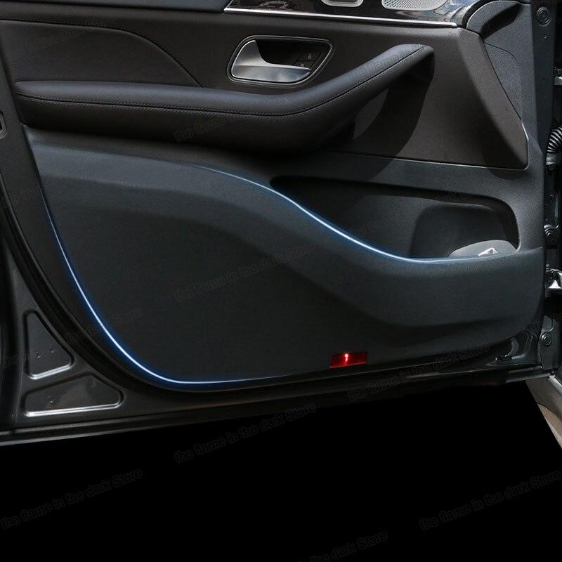 Lsrtw2017 Fiber deri araba Innder kapı Anti-kick Mat Mercedes Benz GLE sınıf W167 2020 2021 Anti-scratch