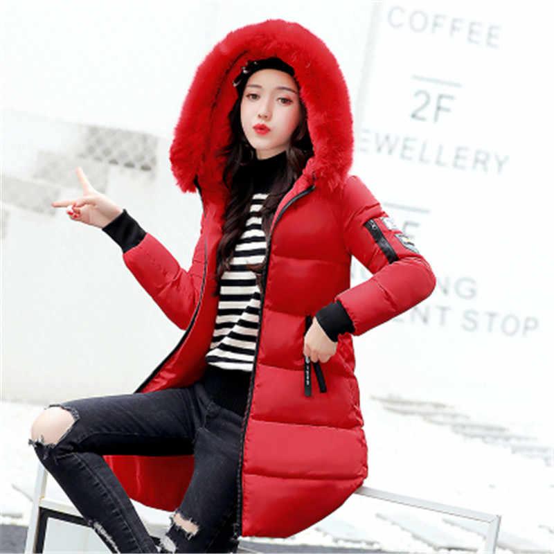 새로운 2020 겨울 자켓 여성면 코트 모피 칼라 후드 파카 여성 롱 자켓 두꺼운 따뜻한 겉옷 chaqueta mujer ST157