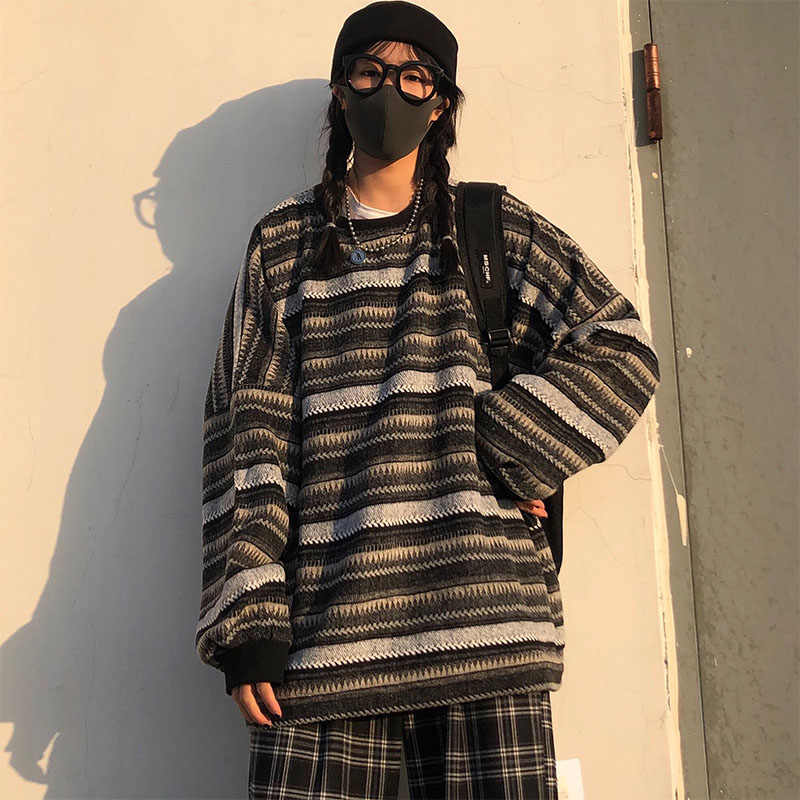 Pullovers Women Oversize Ulzzang BF Unisex Couples Japanese Striped Knit Sweater Hip Hop Female New Winter Fashion Retro Daily