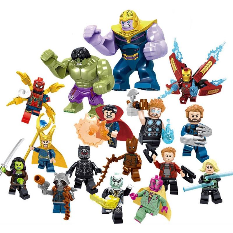 16pcs 34044 Super Heroes Legoinglys Avengers League Marvel DC Figures Hulk Superman Thor Building Blocks Toys For Children